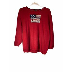 VINTAGE RED ALFRED DUNNER SWEATER 1X